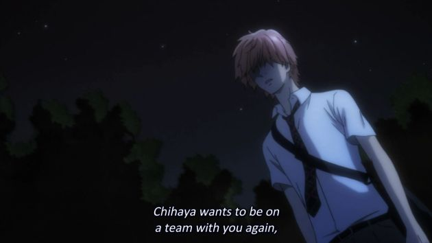 Here, Taichi brings up the fact that Chihaya wants to play with Arata on a team again...